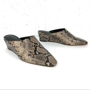Vince Baxley Snake Leather Wedge Mules Taupe Sz 8
